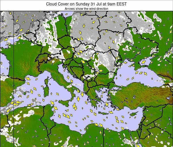 Bulgaria Cloud Cover on Friday 24 May at 9am EEST