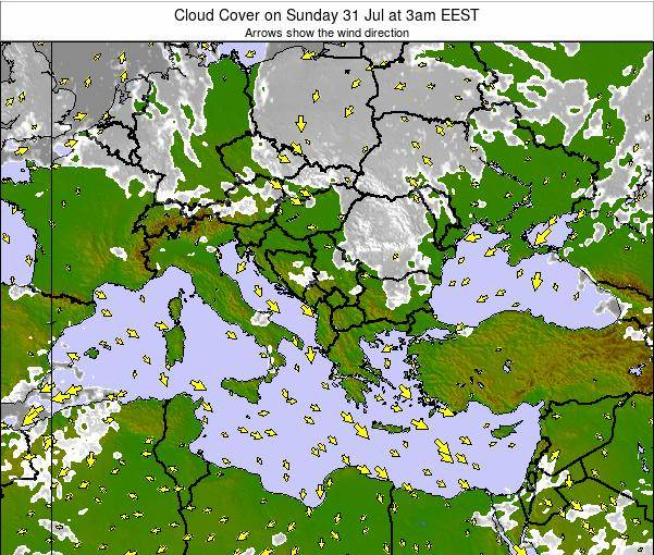 Greece Cloud Cover on Wednesday 23 Apr at 3am EEST