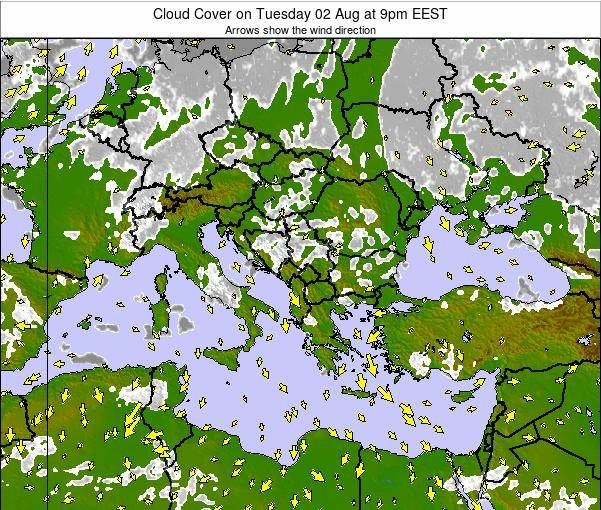 Greece Cloud Cover on Saturday 18 Apr at 9pm EEST
