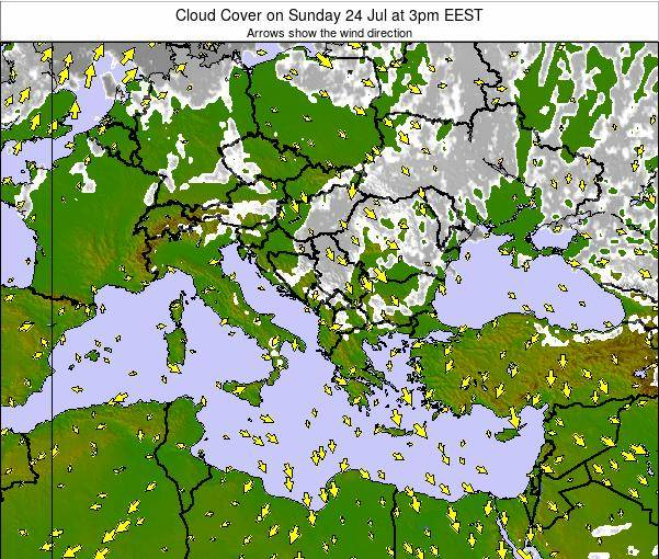 Greece Cloud Cover on Thursday 24 Jul at 3am EEST