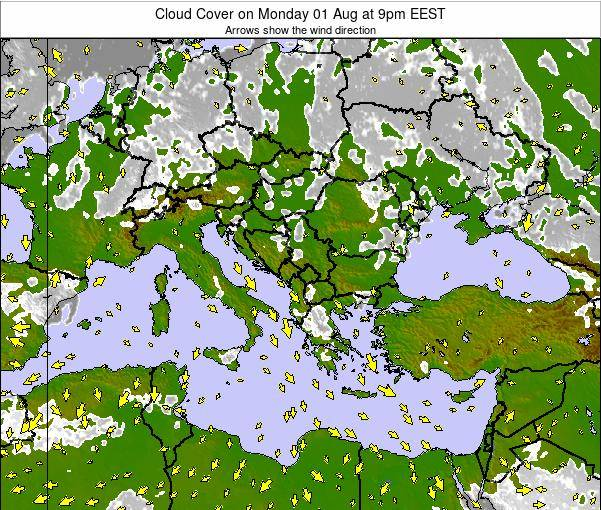 Greece Cloud Cover on Saturday 26 Jul at 3am EEST
