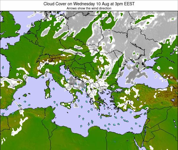Greece Cloud Cover on Wednesday 27 Jul at 3pm EEST