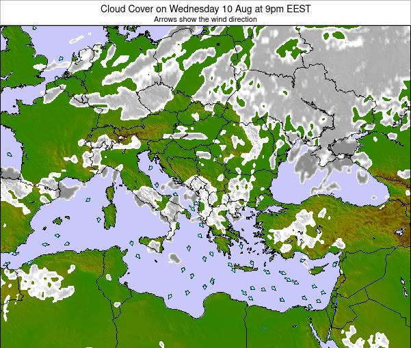 Albania Cloud Cover on Wednesday 12 Mar at 8pm EET