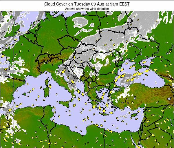 Albania Cloud Cover on Saturday 14 Dec at 2pm EET