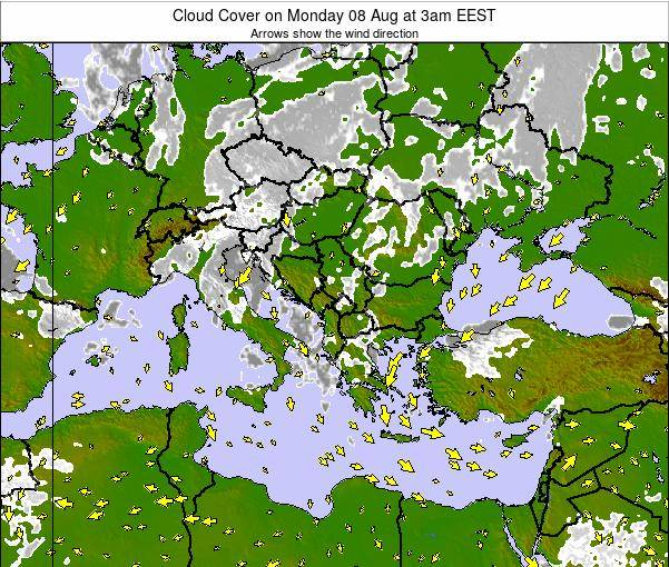 Albania Cloud Cover on Thursday 31 Jul at 3pm EEST