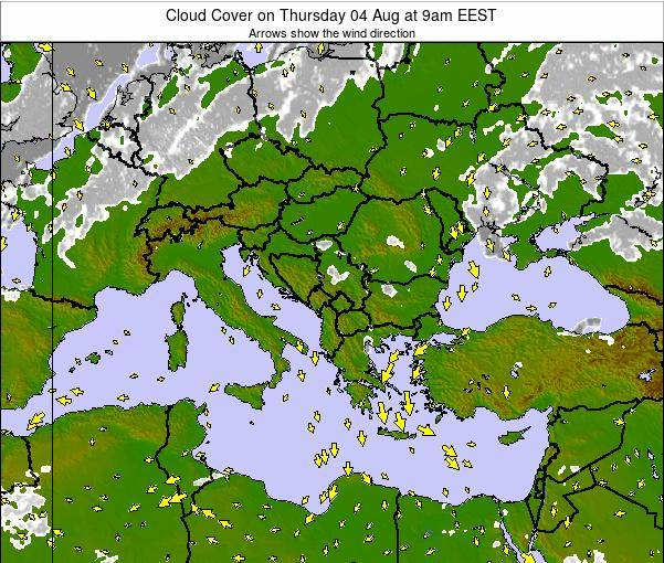 Albania Cloud Cover on Monday 01 Dec at 2am EET