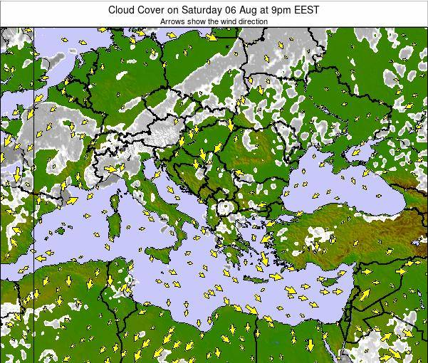 Albania Cloud Cover on Tuesday 07 Jul at 9am EEST