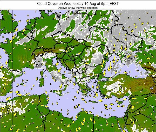 Albania Cloud Cover on Tuesday 28 Mar at 2pm EET