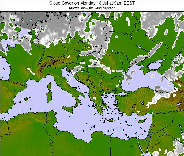 Albania Cloud Cover on Tuesday 03 Mar at 8pm EET