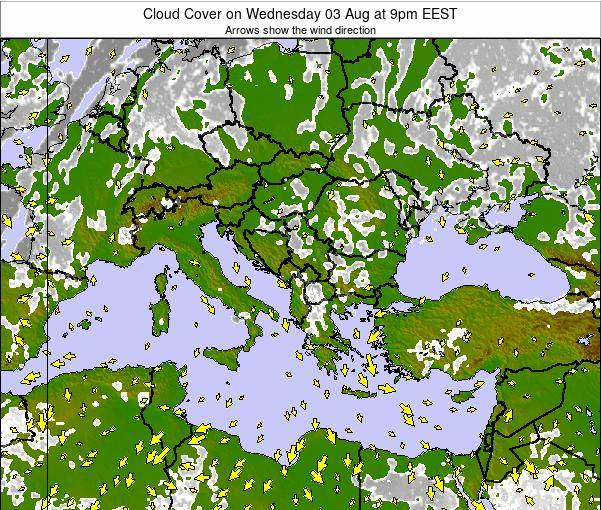 Albania Cloud Cover on Monday 10 Mar at 2pm EET