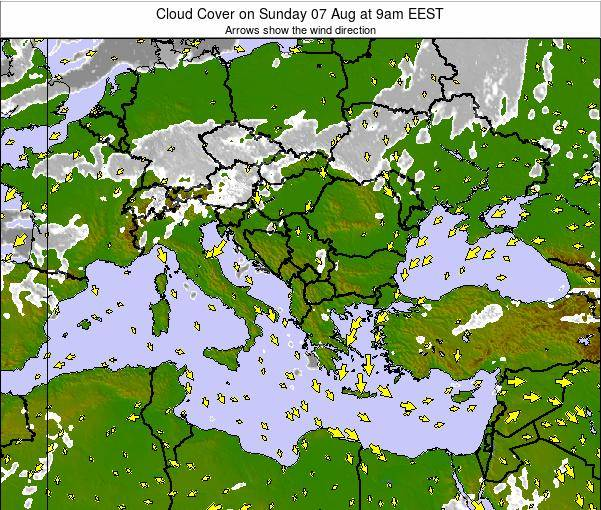 Albania Cloud Cover on Monday 21 Apr at 9pm EEST