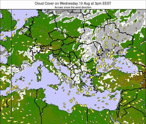 Albania Cloud Cover on Saturday 15 Mar at 8pm EET