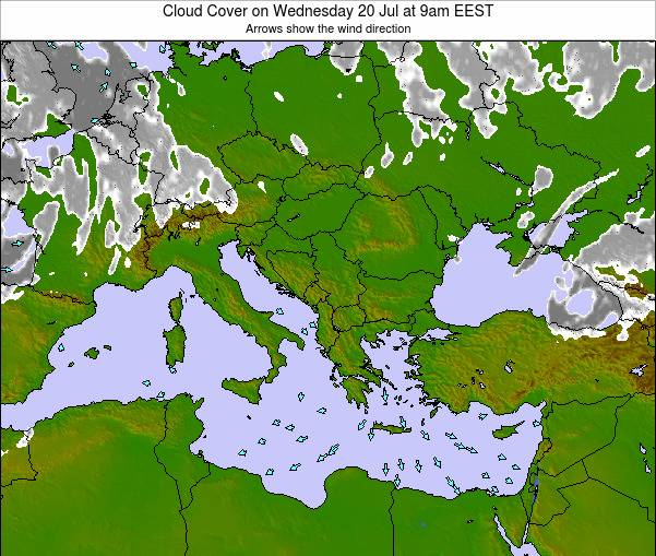 Albania Cloud Cover on Sunday 08 Dec at 8am EET