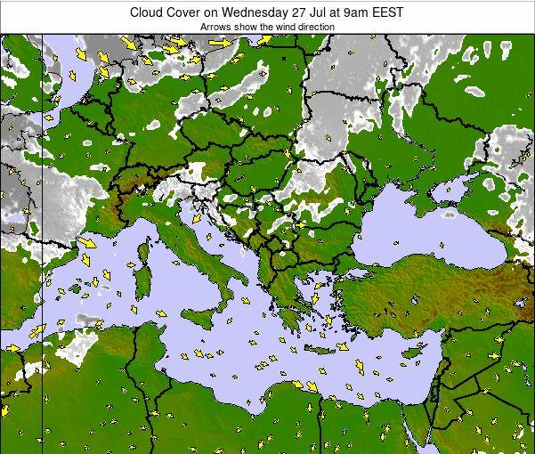 Albania Cloud Cover on Saturday 25 May at 9am EEST
