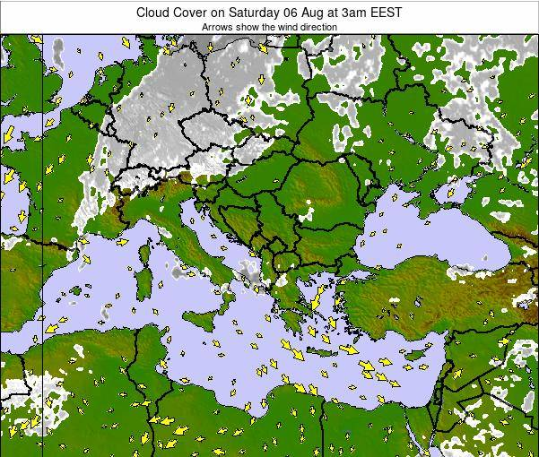 Albania Cloud Cover on Friday 03 Jul at 3pm EEST
