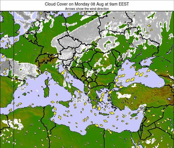 Albania Cloud Cover on Sunday 11 Dec at 8am EET