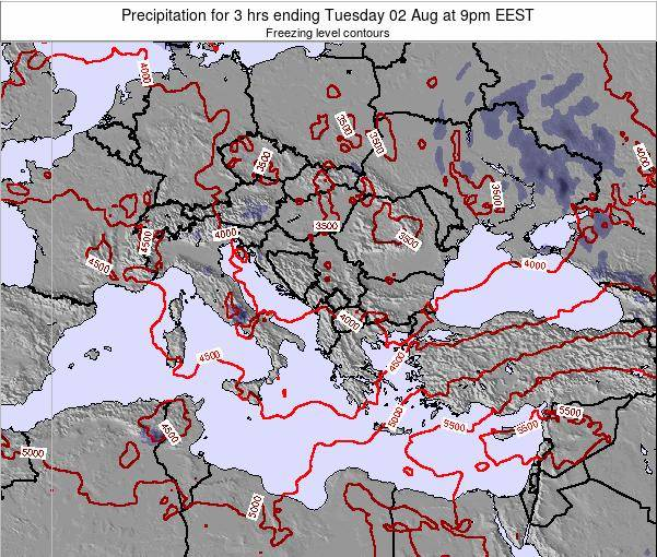 Greece Precipitation for 3 hrs ending Saturday 25 May at 9am EEST