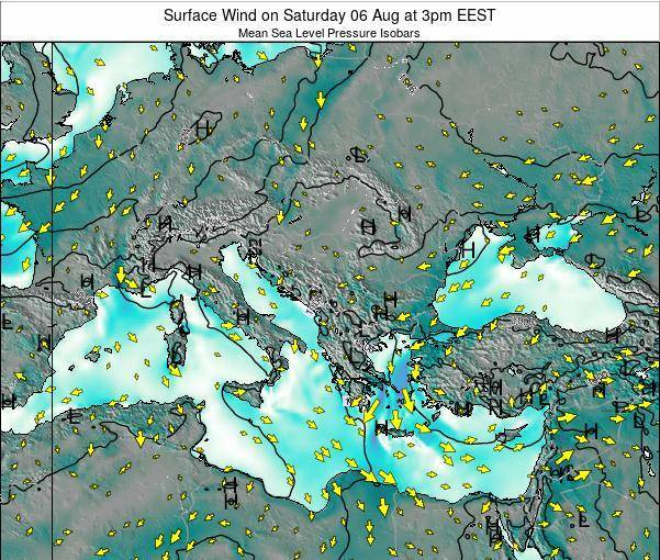 Bulgaria Surface Wind on Tuesday 11 Mar at 8am EET