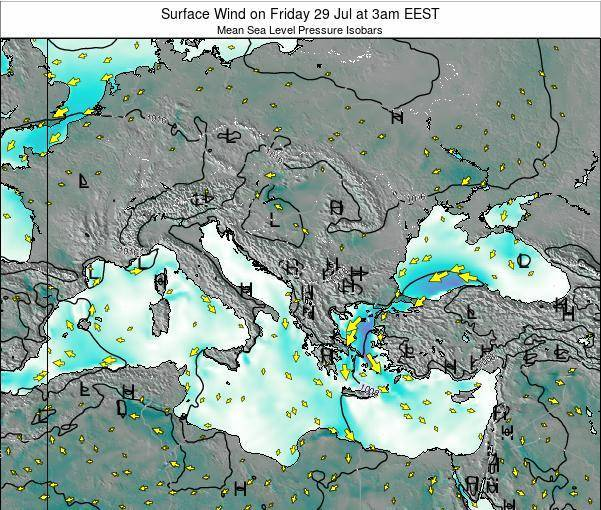 Bulgaria Surface Wind on Friday 09 Oct at 3am EEST