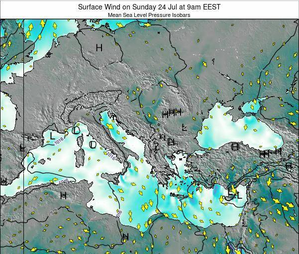 Bulgaria Surface Wind on Sunday 27 Apr at 9am EEST
