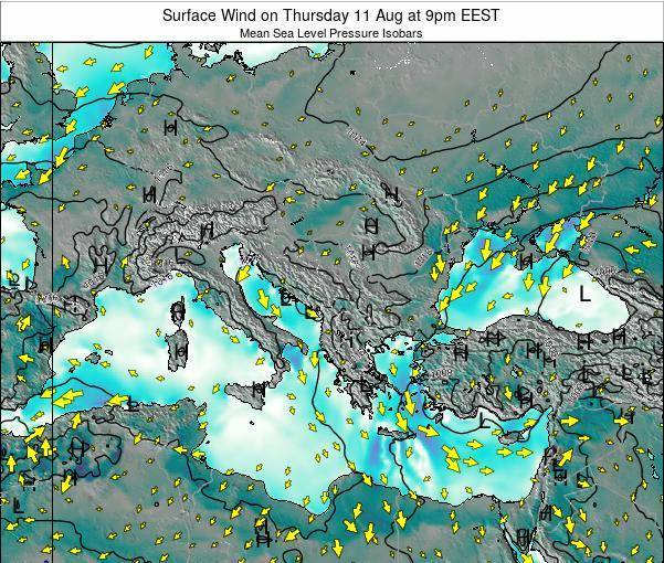 Albania Surface Wind on Friday 24 May at 3am EEST