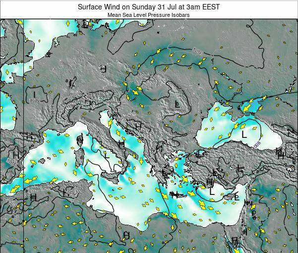 Albania Surface Wind on Tuesday 25 Jun at 3pm EEST