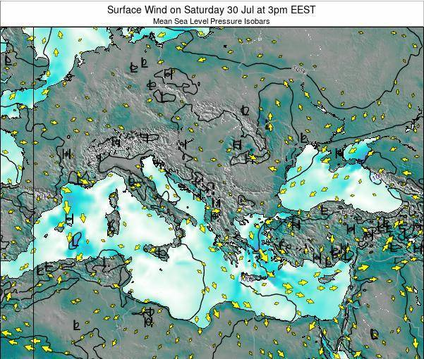 Bulgaria Surface Wind on Thursday 24 Apr at 3am EEST