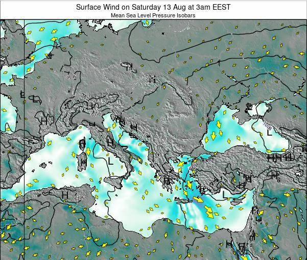 Bulgaria Surface Wind on Tuesday 05 Aug at 9pm EEST