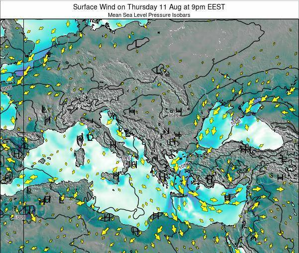 Bulgaria Surface Wind on Friday 25 Apr at 3pm EEST