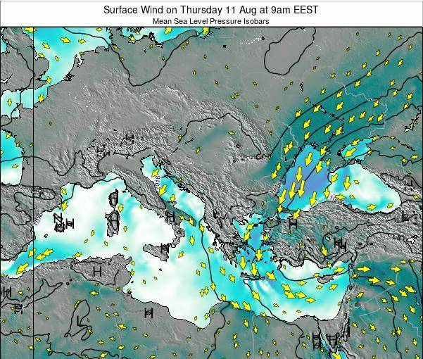 Bulgaria Surface Wind on Sunday 12 Jul at 9am EEST