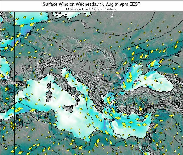 Bulgaria Surface Wind on Tuesday 28 Oct at 9am EEST