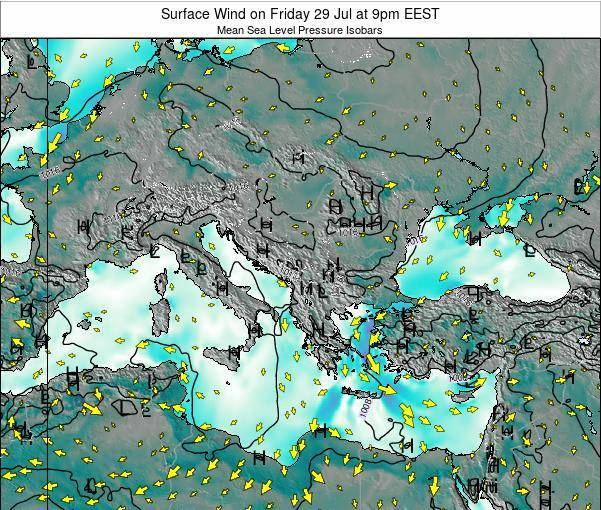 Bulgaria Surface Wind on Thursday 06 Aug at 3pm EEST