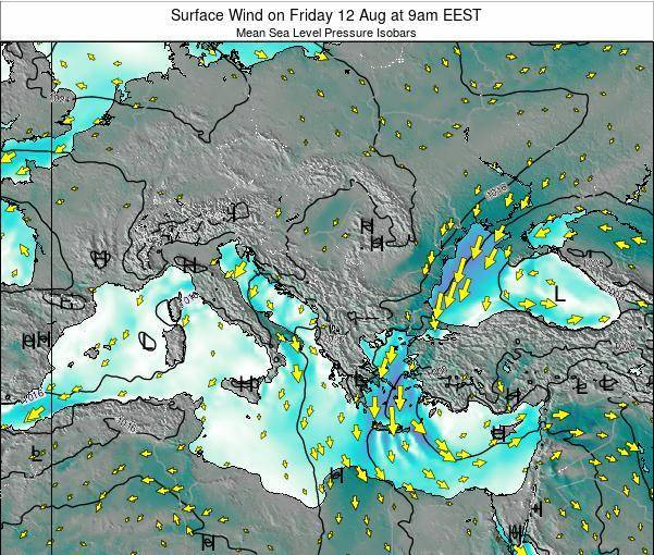 Bulgaria Surface Wind on Tuesday 29 Jul at 9am EEST