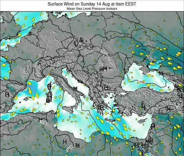 Bulgaria Surface Wind on Saturday 01 Nov at 8am EET