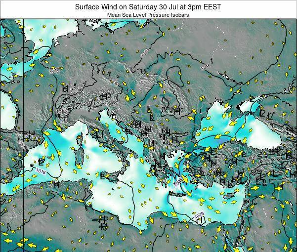 Greece Surface Wind on Wednesday 26 Jun at 3am EEST map