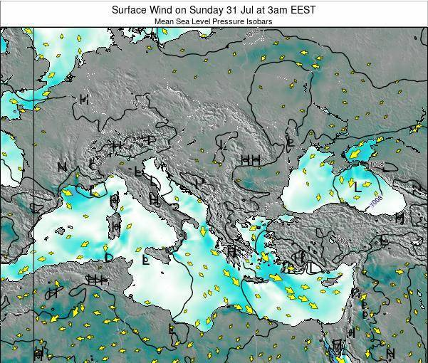 Bulgaria Surface Wind on Sunday 03 Aug at 9am EEST