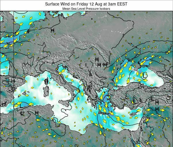 Bulgaria Surface Wind on Wednesday 11 Dec at 8am EET