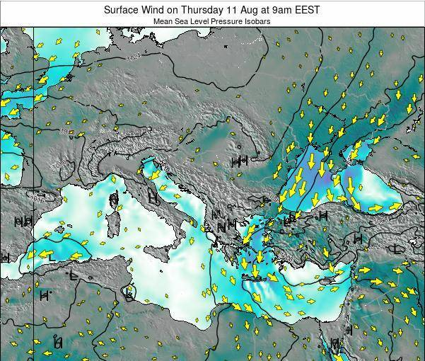 Greece Surface Wind on Tuesday 28 May at 3am EEST map