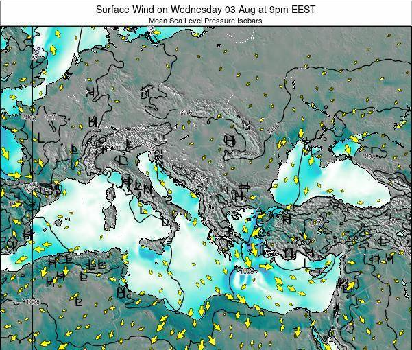 Bulgaria Surface Wind on Monday 24 Jun at 9pm EEST
