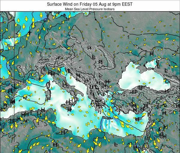 Bulgaria Surface Wind on Thursday 12 Dec at 2pm EET