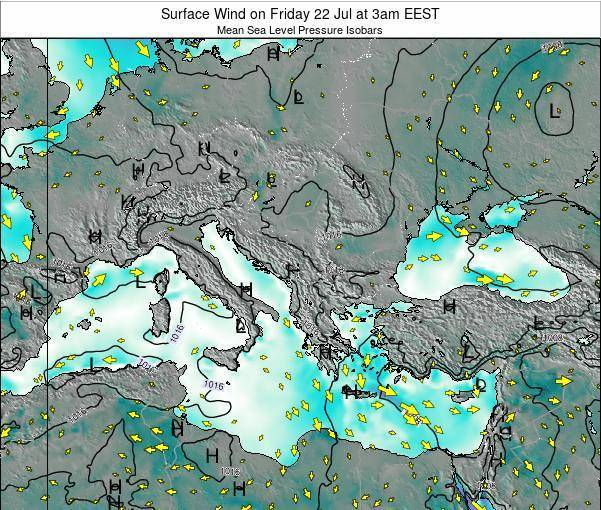 Albania Surface Wind on Monday 20 May at 3am EEST