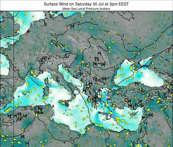 Greece Surface Wind on Saturday 25 May at 9am EEST map