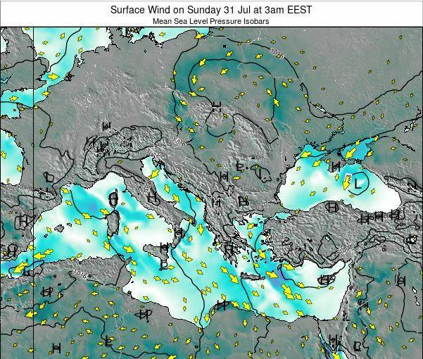 Bulgaria Surface Wind on Thursday 24 Apr at 9pm EEST