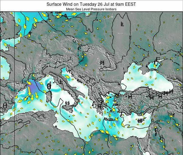 Bulgaria Surface Wind on Sunday 01 Feb at 8am EET