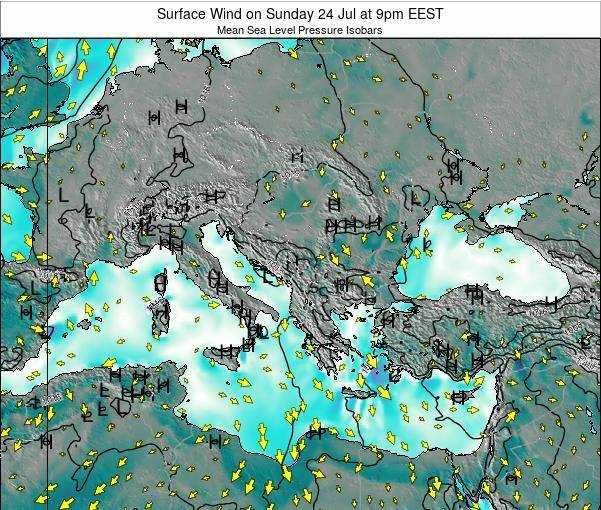Bulgaria Surface Wind on Wednesday 12 Mar at 8am EET