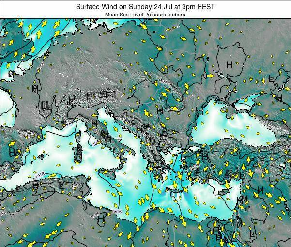 Bulgaria Surface Wind on Sunday 27 Jul at 9am EEST