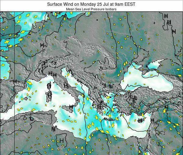 Bulgaria Surface Wind on Tuesday 21 May at 3am EEST