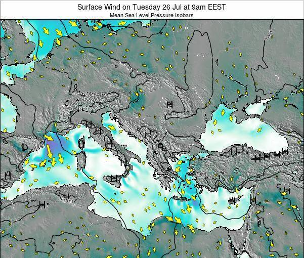 Bulgaria Surface Wind on Sunday 02 Oct at 3pm EEST