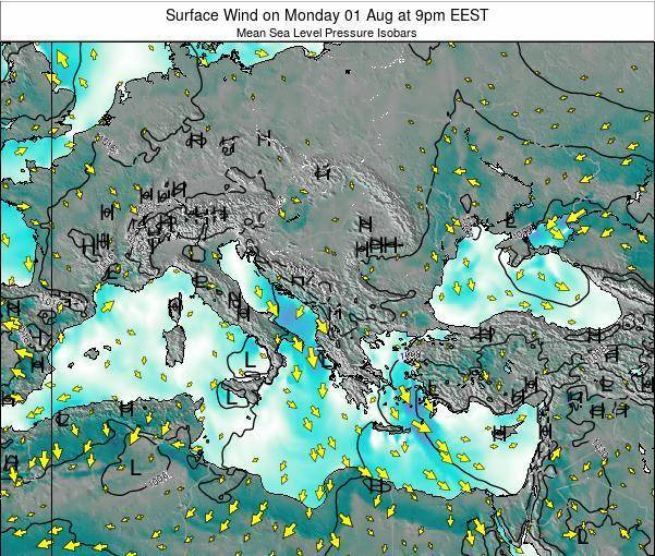 Bulgaria Surface Wind on Saturday 23 Aug at 3am EEST