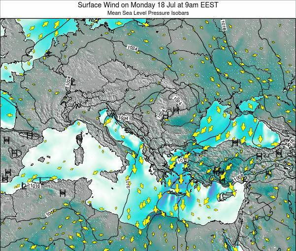 Bulgaria Surface Wind on Thursday 24 Jul at 3am EEST